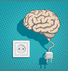 human brain with an electrical plug and socket vector image