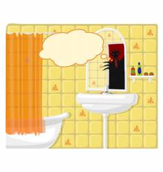 illustration of bathroom monster vector image