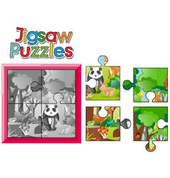 jigsaw puzzle game with wild animals vector image