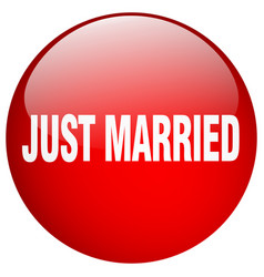 Just married red round gel isolated push button vector