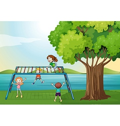 Kids playing near river vector