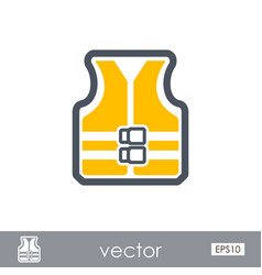 Life jacket outline icon summer vacation vector