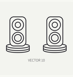 Line flat computer part icon audio speakers vector