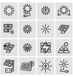 line solar energy icon set vector image
