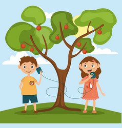 Little girl and boy are talking on toy phone vector