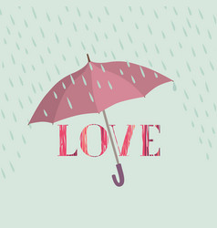 love sign over rain under umbrella protection vector image