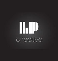Lp l p letter logo design with white and black vector