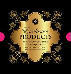 luxury ornamental gold label design vector image