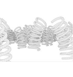 Many springs rendering of 3d vector