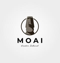 Moai easter island logo vintage symbol design vector