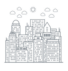 modern cityscape in line art style vector image