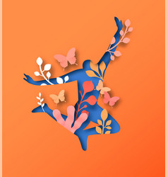 People jumping silhouette with papercut leaves vector