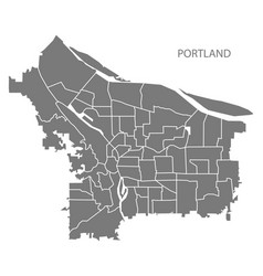 Portland oregon city map with neighborhoods grey vector
