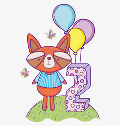 raccoon happy birthday two year with balloons vector image