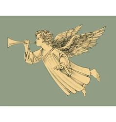 Retro style Christmas angel vector image