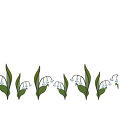 seamless border lily of the valley vector image