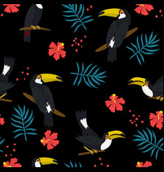 seamless pattern with toucans hibiscus and palm vector image