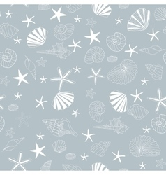 Seashells and starfish seamless pattern vector