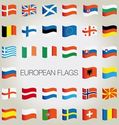 Set flags with waves for your design vector