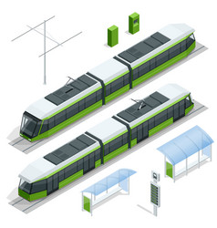 set isometric passenger tram train streetcar vector image