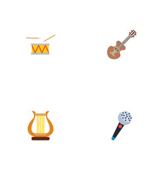 set of music icons flat style symbols with drum vector image