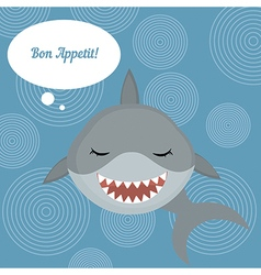Shark says bon appetit vector