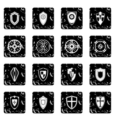 Shields set set icons grunge style vector