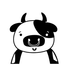 Silhouette adorable and happy cow wild animal vector