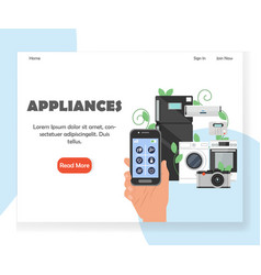 smart household appliances website landing vector image