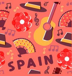 spain flamenco music culture seamless pattern vector image