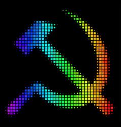 spectral colored dotted sickle and hammer icon vector image