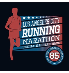 Sport Running Marathon T-shirt Typography Graphics vector image