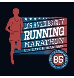 sport running marathon t-shirt typography graphics vector image