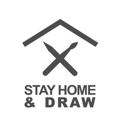 Stay home and draw icon staying at home during a vector