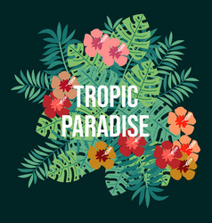 Summer tropic background with palm leaves vector