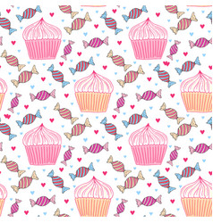 sweets seamless pattern with cupcakes and candy vector image