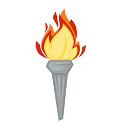 Torch greek symbol olympic games attribute fire or vector