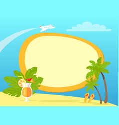 Tropical island with palms and yellow flip flops vector