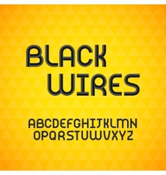 Wired wavy cable black contour alphabet vector image