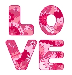 Word love painted pink vector