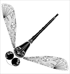 Zentangl dragonfly on white vector