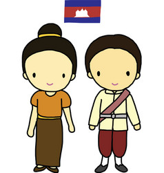 Cambodia traditional costume vector image vector image