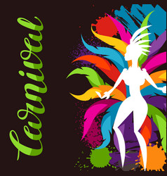 carnival party background with samba dancer and vector image