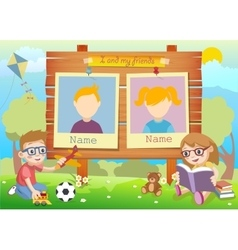 Yearbook for kindergarten with kids and two vector image vector image