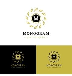 abstract monogram logo Leaves frame letter vector image