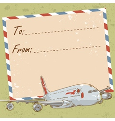 Air mail travel postcard with touristic airplane vector image vector image