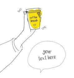 Coffee break doodle style of a girl vector