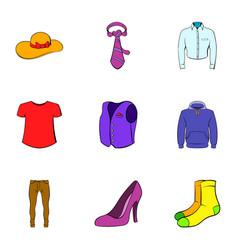 Fashion clothes icons set cartoon style vector