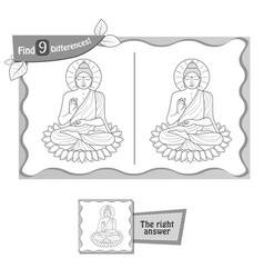 find 9 differences game buddha vector image vector image