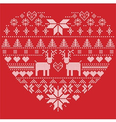 heart shape pattern with reindeers hearts xmas vector image vector image